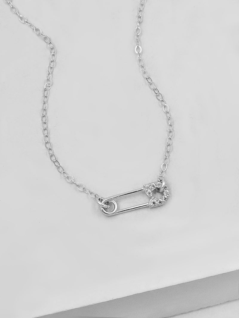 Mini Safety Pin Charm Necklace