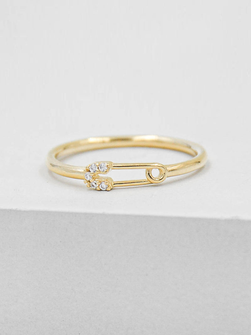 Safety Pin Ring - Gold