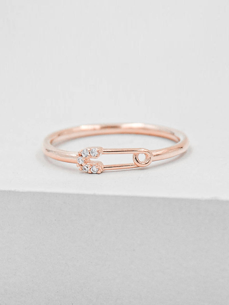 Safety Pin Ring - Rose Gold