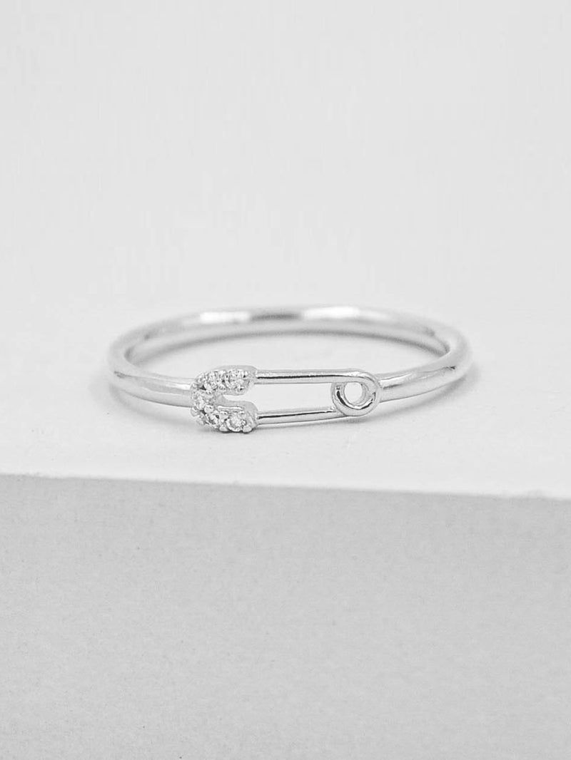 Safety Pin Ring - Silver