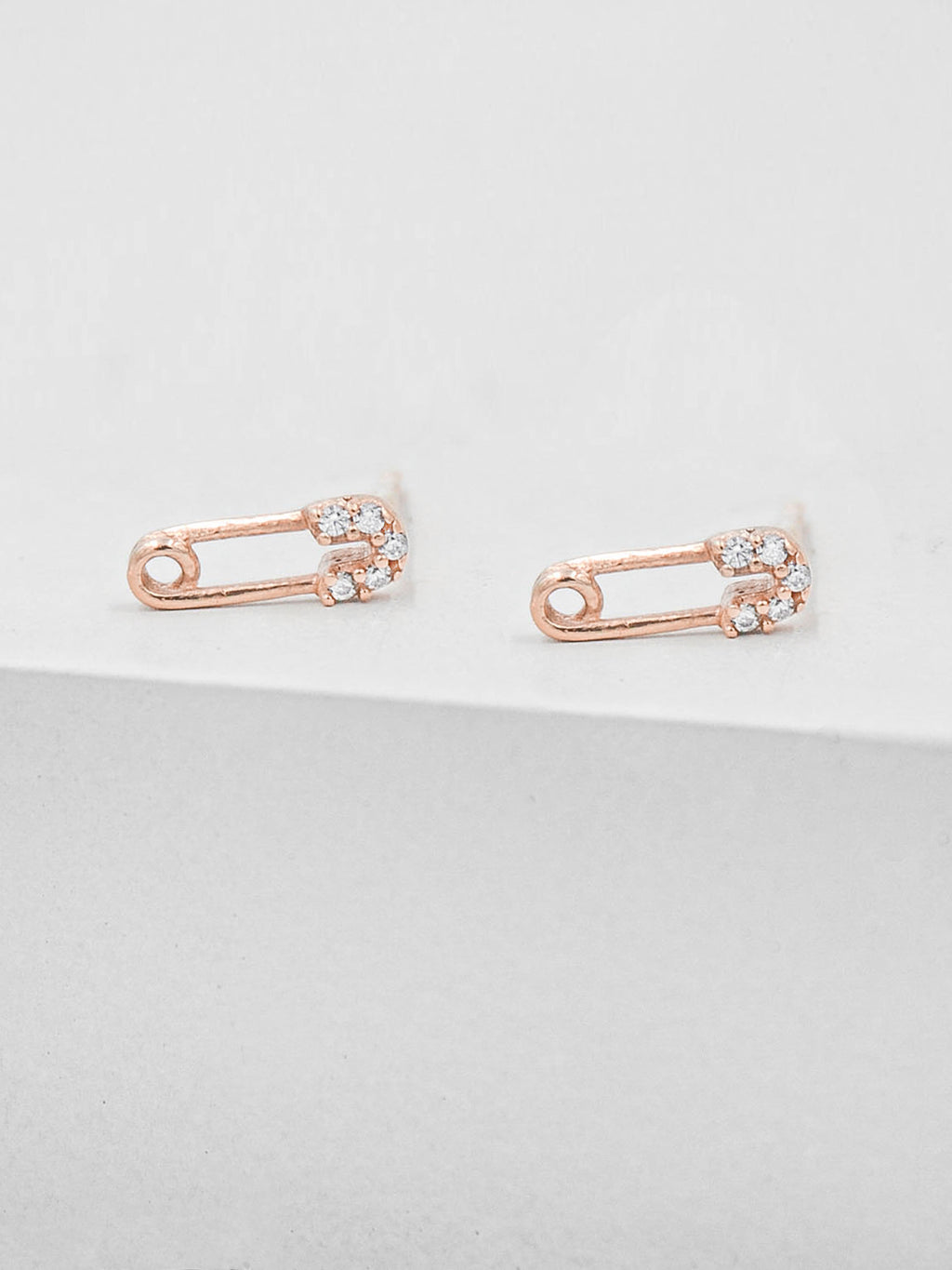 Rose Gold Plated Brass Safety Pin design with Cubic Zirconia CZ Stones Stud Earrings by The Faint hearted Jewelry