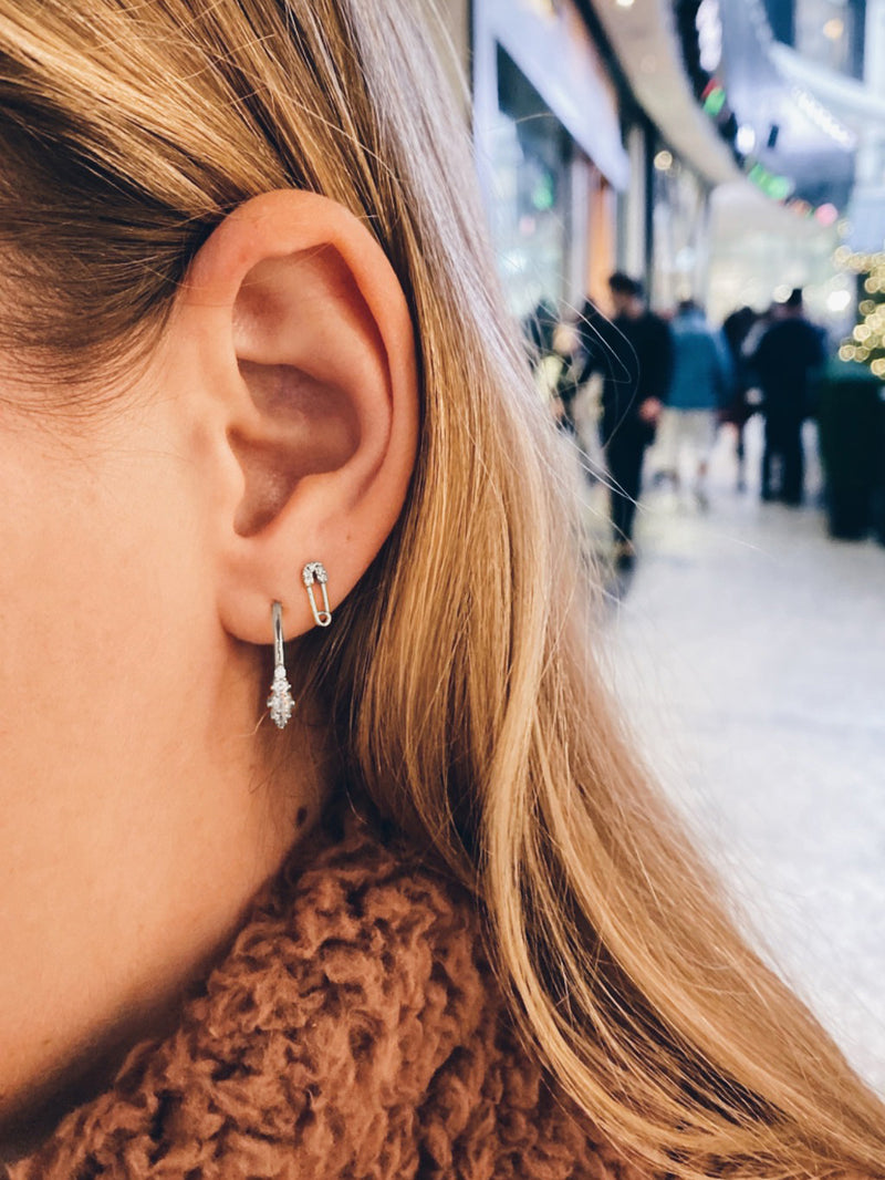 minimalistic style Rhodium Plated  Brass Safety Pin design with Cubic Zirconia CZ Stones Stud Earrings by The Faint hearted Jewelry