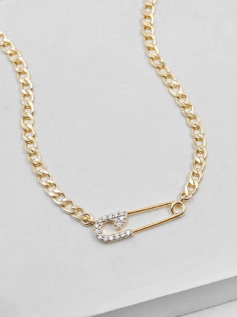 Safety Pin Sparkle Curb Chain Gold Necklace by The Faint Hearted Jewelry
