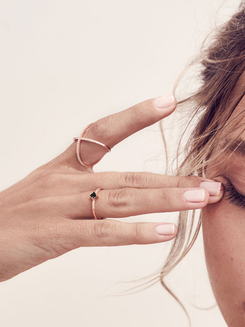 diamond shape stacking ring the faint hearted jewelry