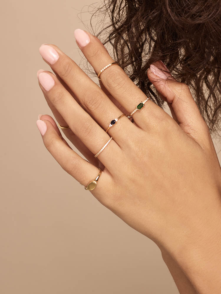Emerald baguette and Round cut CZ Stacking Silver  Ring by The Faint Hearted Jewelry