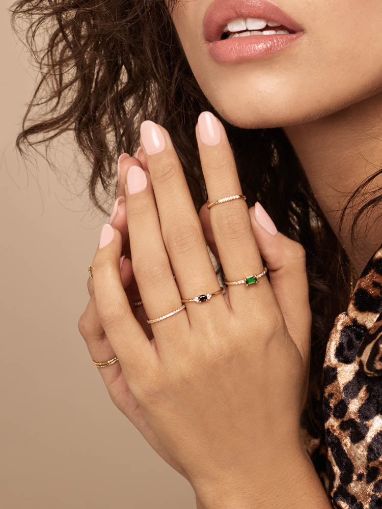 Emerald Baguette Stacking Ring by The Faint Hearted Jewelry
