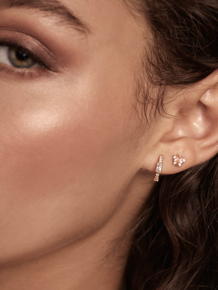Baguette and Round CZ Huggies Earrings by The Faint Hearted Jewelry