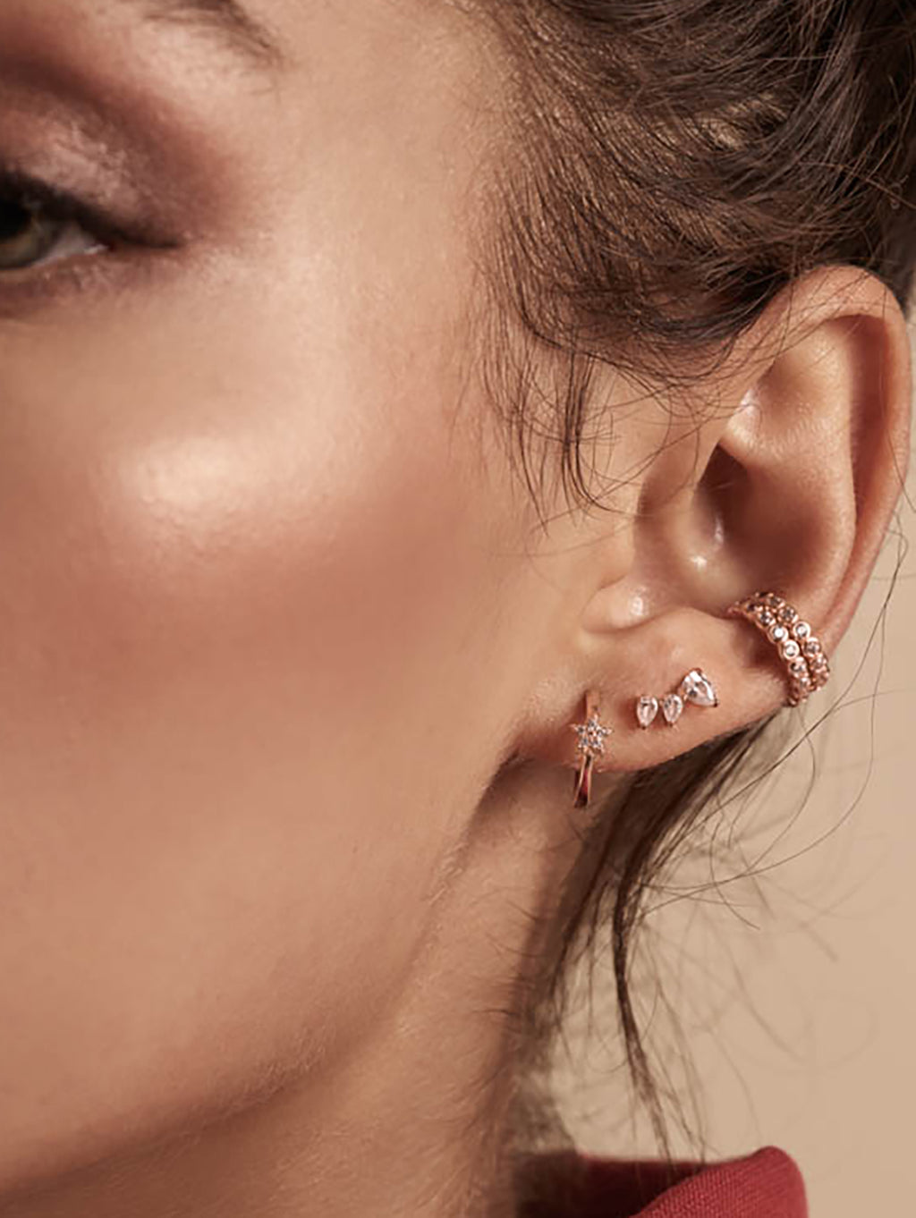 Minimalist style Rose Gold Plated Brass Mini Star with White  CZ Cubic Zirconia Hoop Huggies Dainty Earring by The Faint Hearted Jewelry