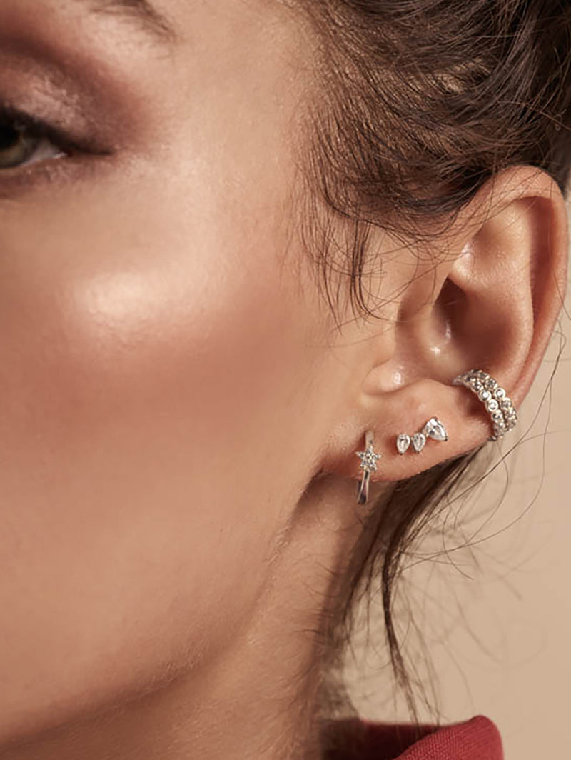 Rhodium Plated Brass Mini Star with White  CZ Cubic Zirconia Hoop Huggies Dainty Earring by The Faint Hearted Jewelry