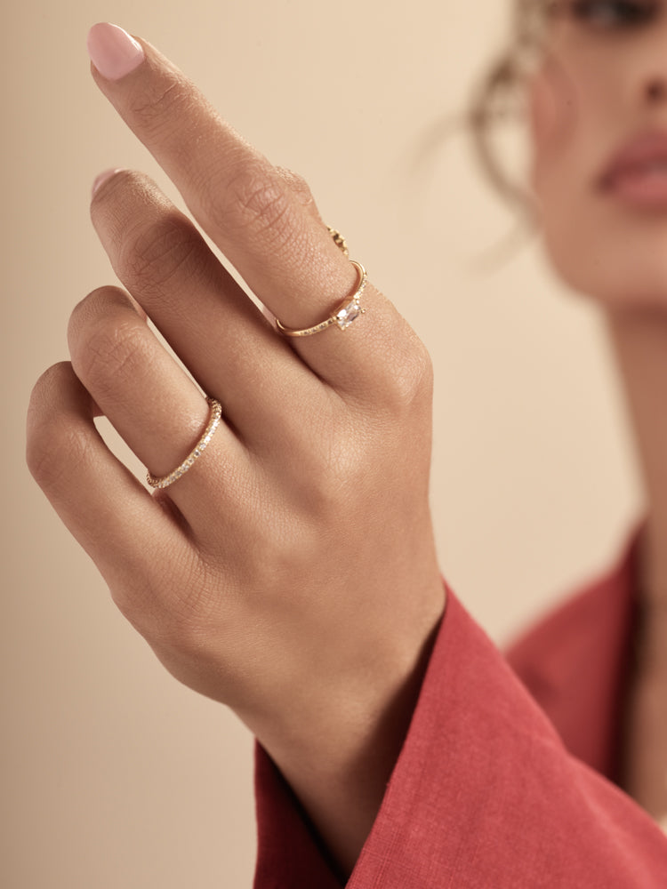 Gold Baguette Stacking Ring by The Faint Hearted Jewelry