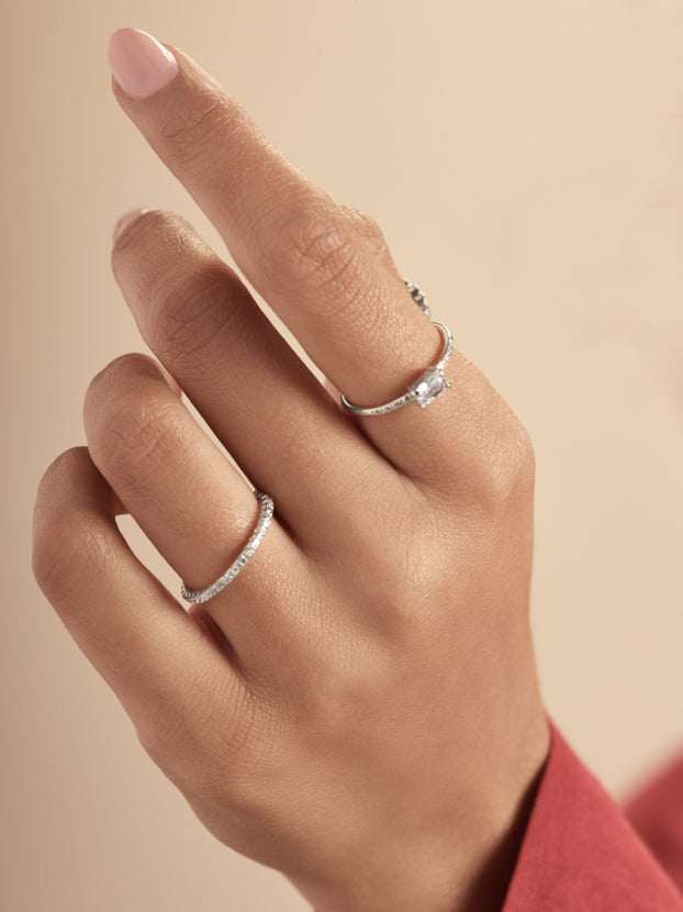 Stackable Rhodium Plated Baguette and Round CZ Ring by The Faint Hearted Jewelry