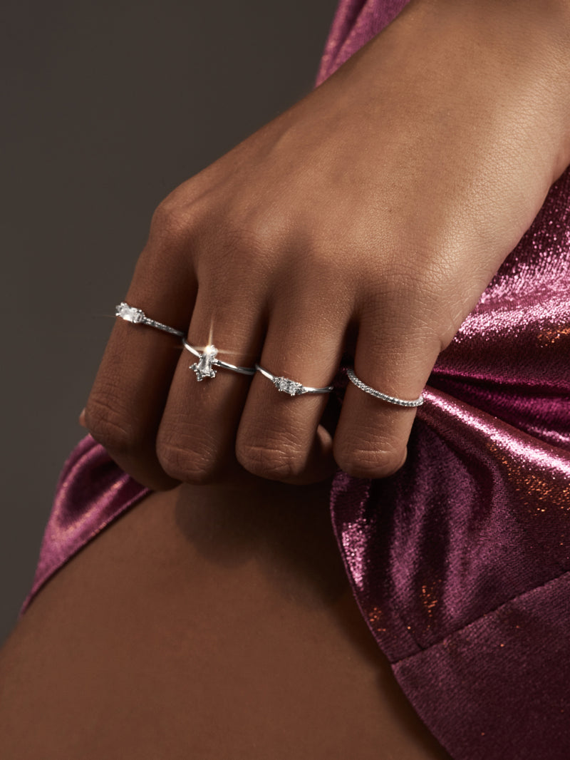 Minimalistic Dainty Delicate Baguette Ring by The Faint Hearted Jewelry