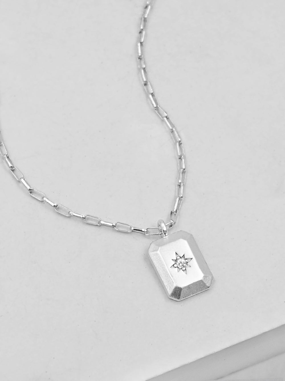 North star Tag Silver Necklace by The Faint Hearted Jewelry