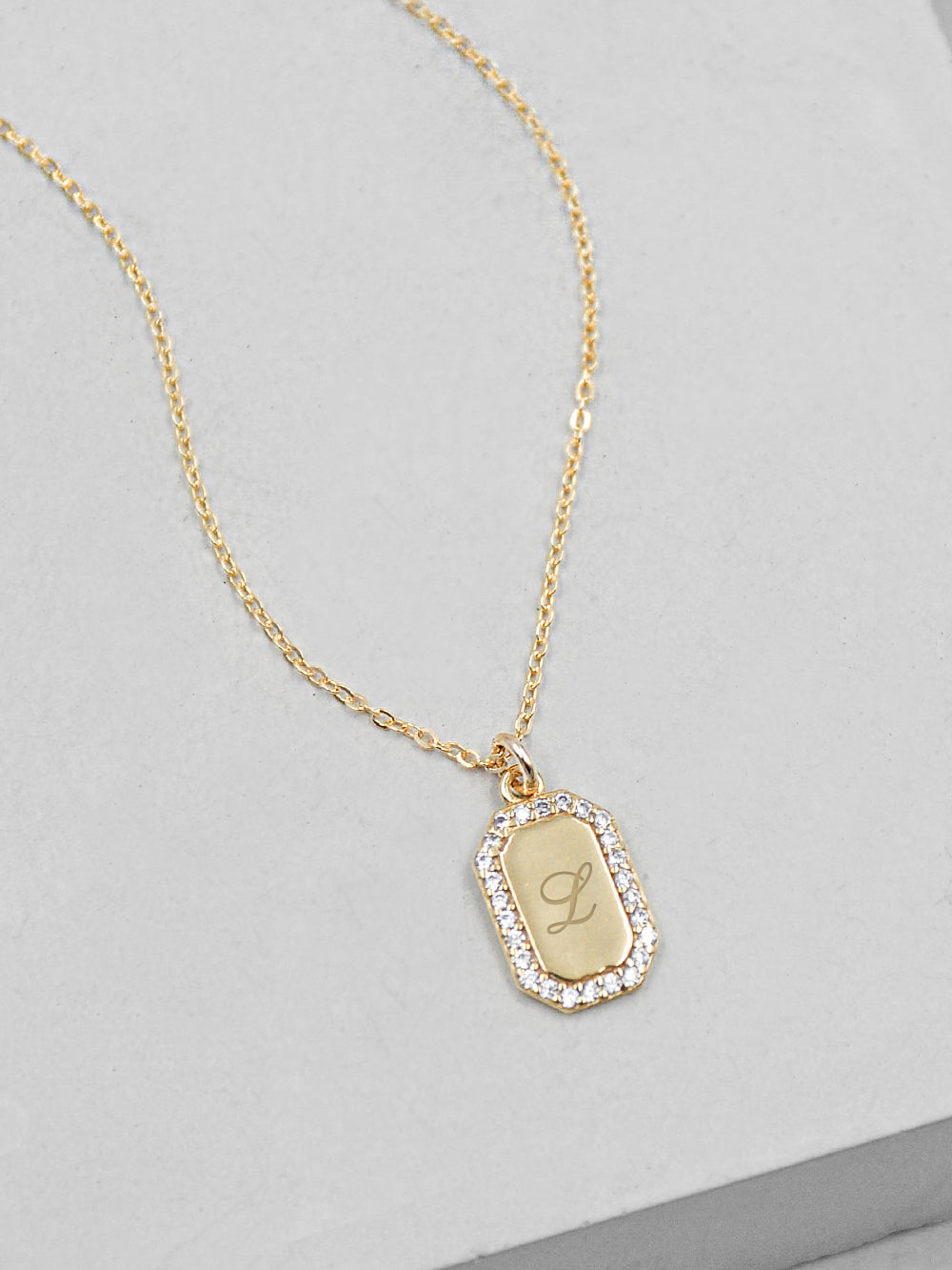 Sparkle Tag Necklace - Gold