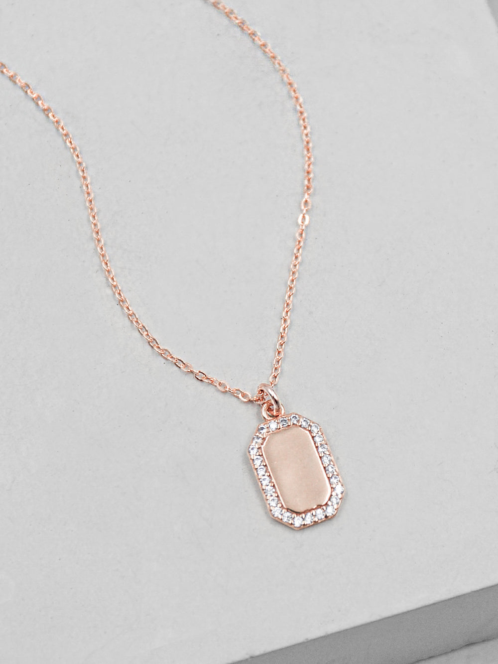 Plain Sparkle Mini Tag  Rose Gold Necklace by The Faint Hearted Jewelry