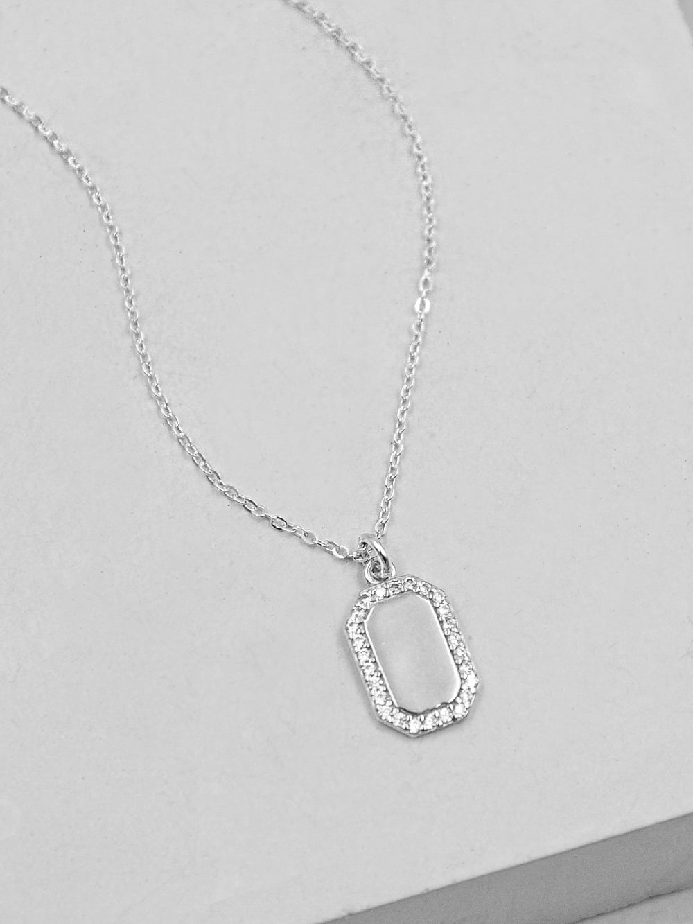 Sparkle Tag Necklace - Silver