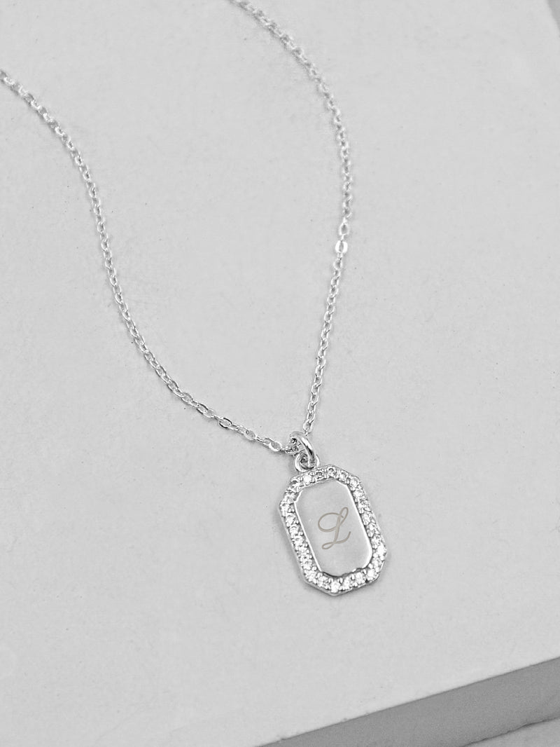 Plain Sparkle Mini Tag Silver Necklace by The Faint Hearted Jewelry