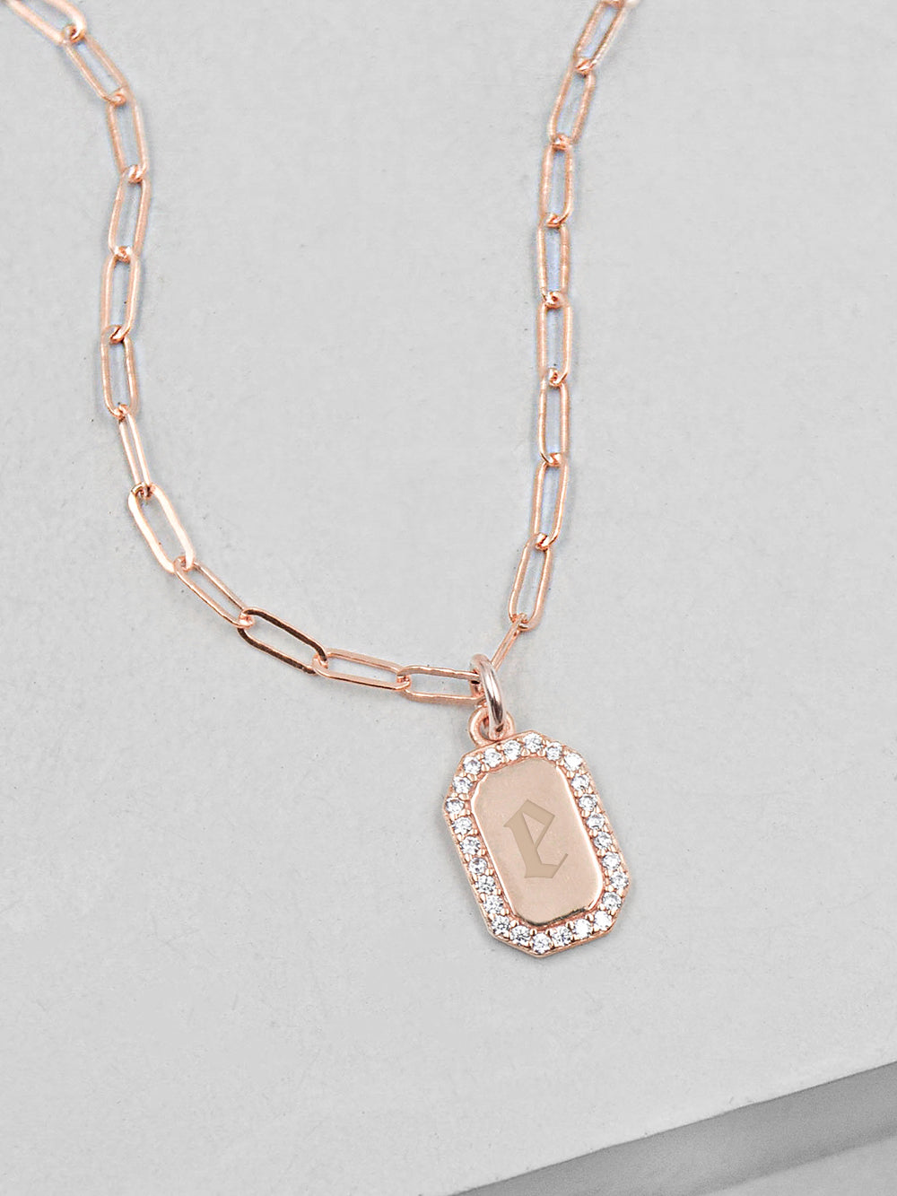Mini CZ Initial Tag Paperclip Rose Gold Necklace by The Faint Hearted Jewelry