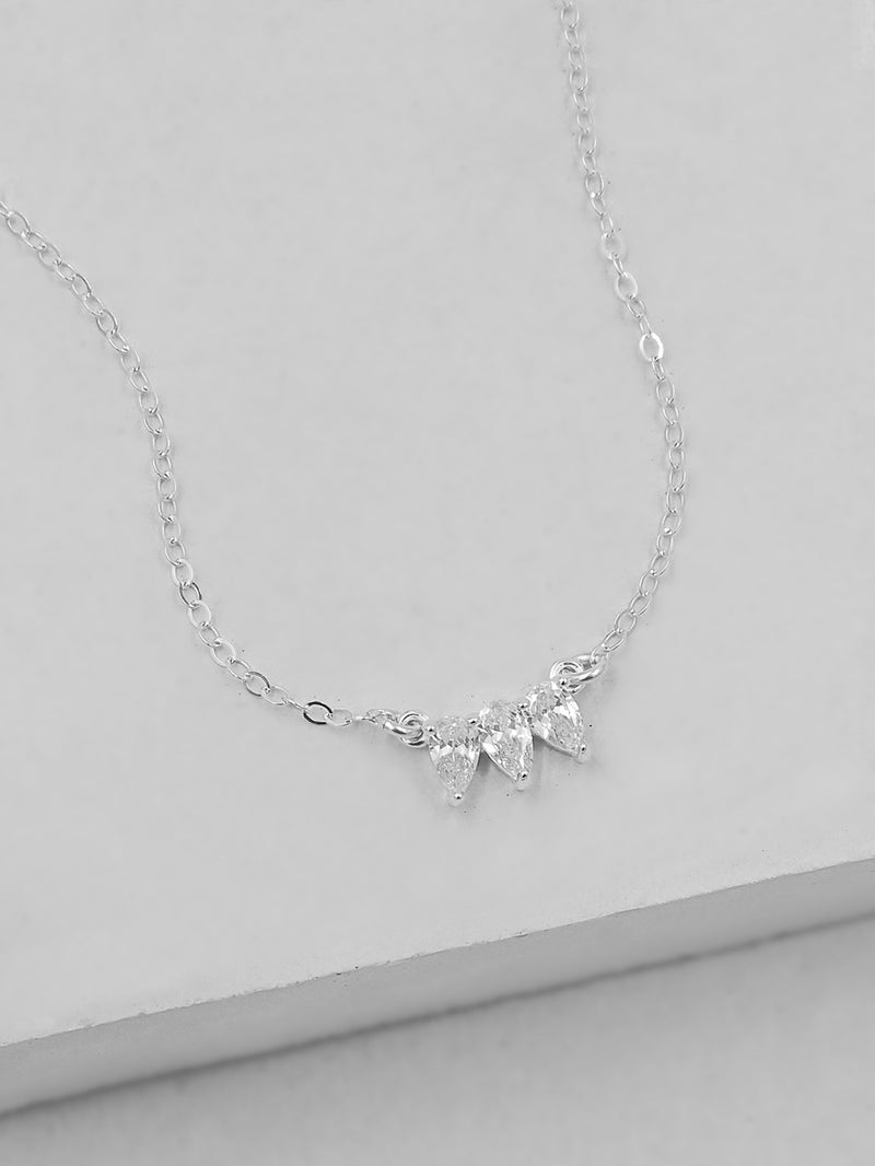 Silver Teardrop Charm Necklace by The Faint Hearted Jewelry