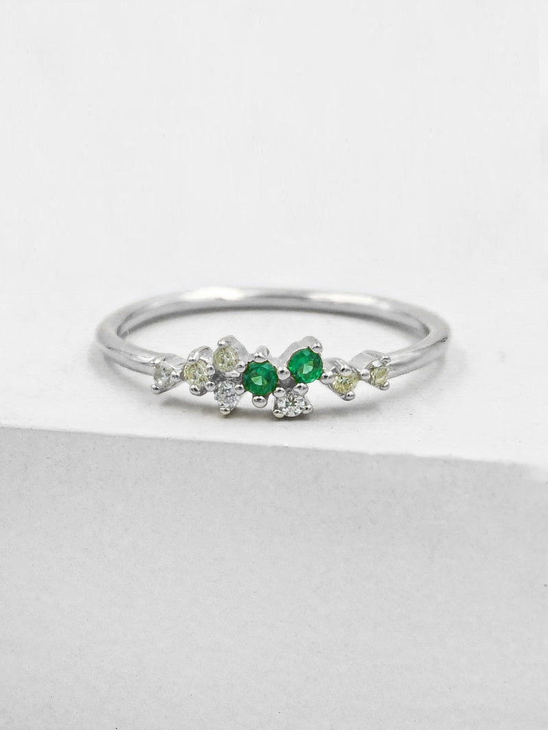 Twilight Ring - Silver + Green
