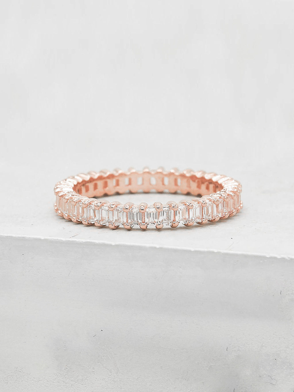 Vertical Baguette Eternity Band - Rose Gold