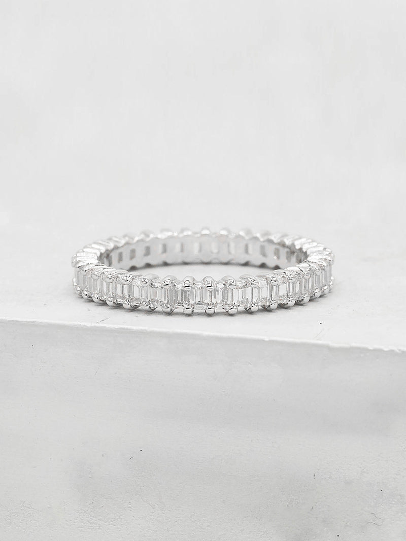 Vertical Baguette Eternity Band - Silver