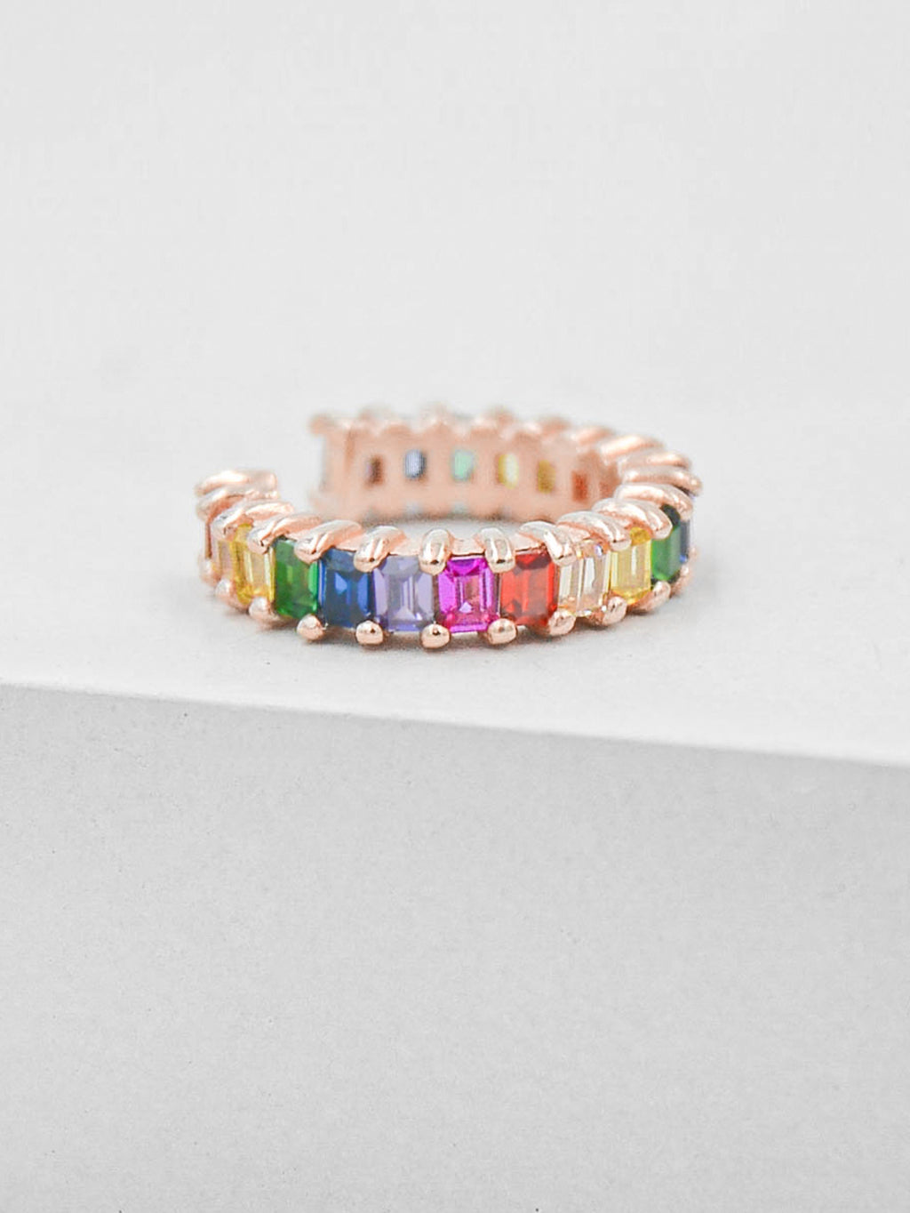 No Piercing Baguette Ear Cuff - Rose Gold + Rainbow