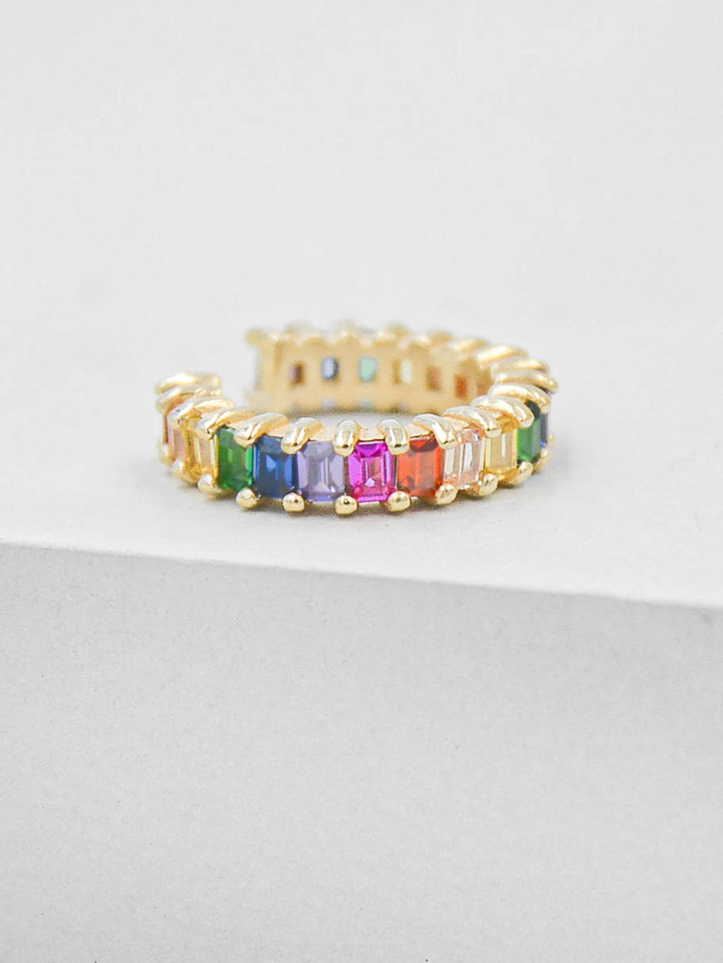 No Piercing Baguette Ear Cuff - Gold + Rainbow