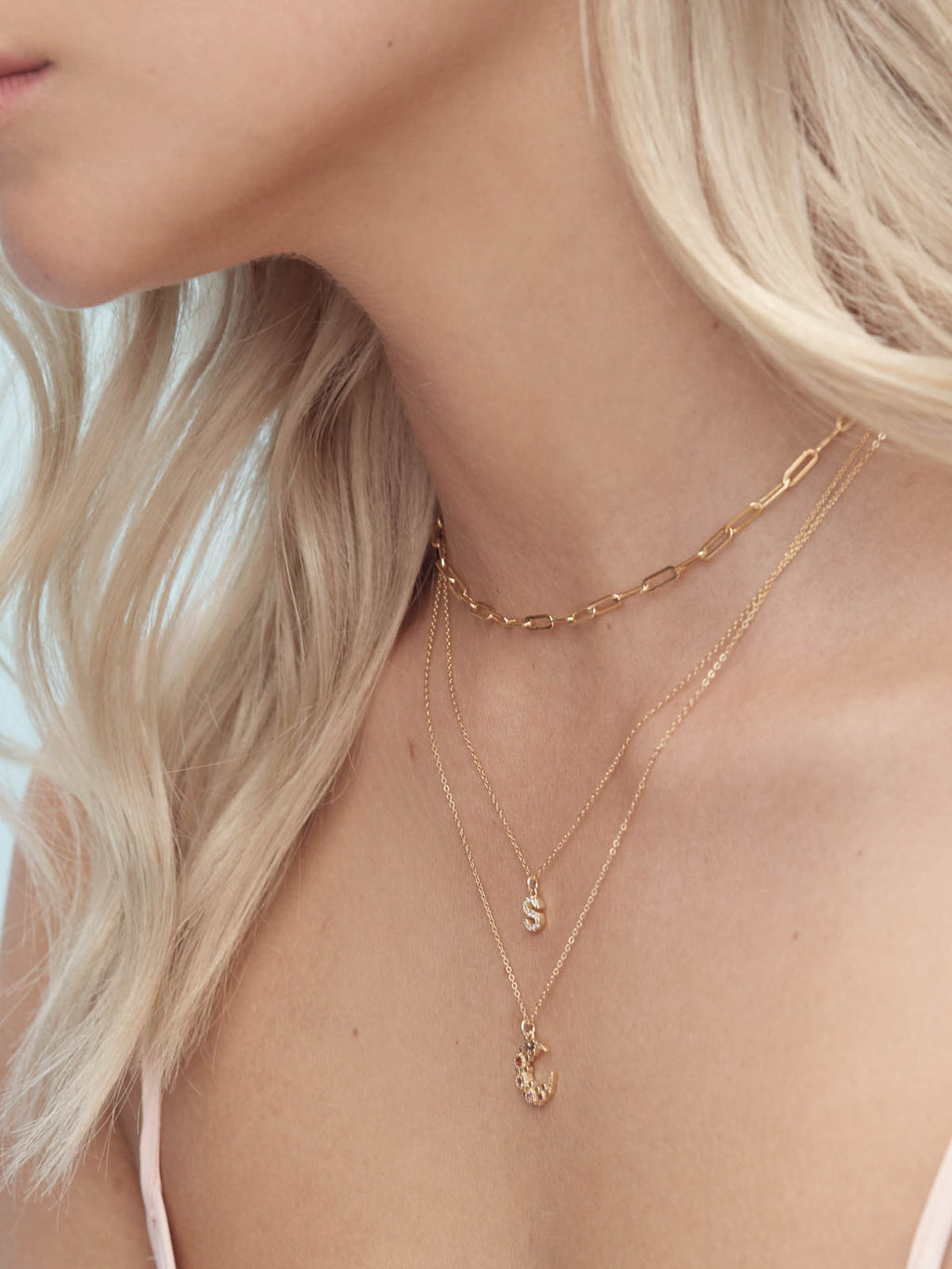 Sparkle Initial Necklace - Gold