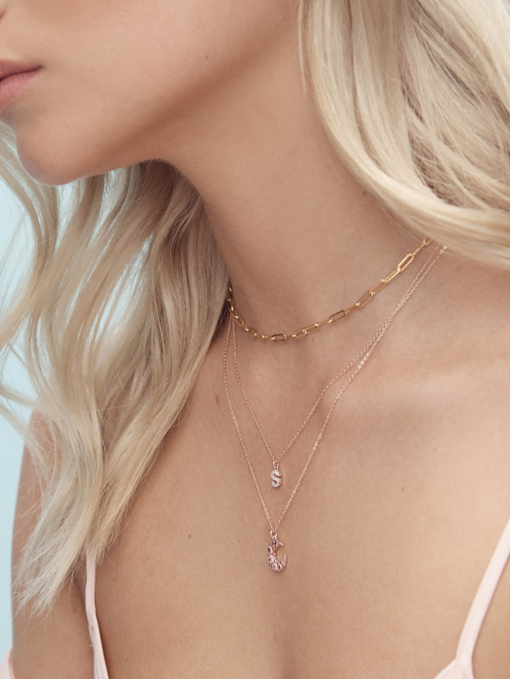 Rose Gold Chain with Pink Cluster Moon CZ Charm Necklace  by The Faint Hearted Jewelry
