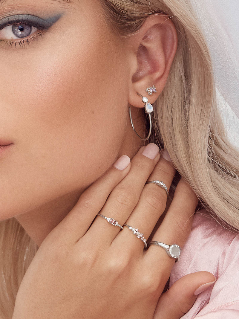 Minimalist style Rhodium Plated Brass Pink and Champagne CZ Cubic Zirconia Twilight Style Stud dainty Earrings by The Faint Hearted jewelry