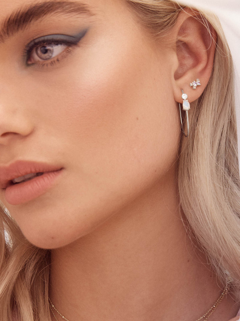 Silver  Moonstone with Round White CZ Moonstone and Round White CZ Dangling Hoops Earrings by The Faint Hearted Jewelry
