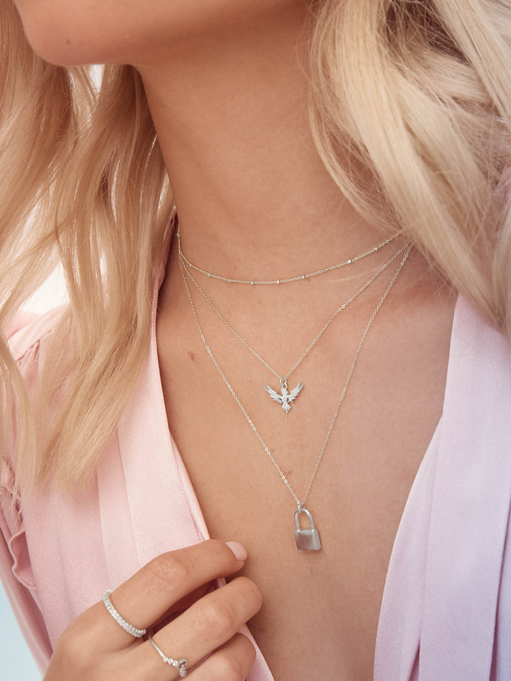 Bird Charm Silver Necklace by The Faint Hearted Jewelry