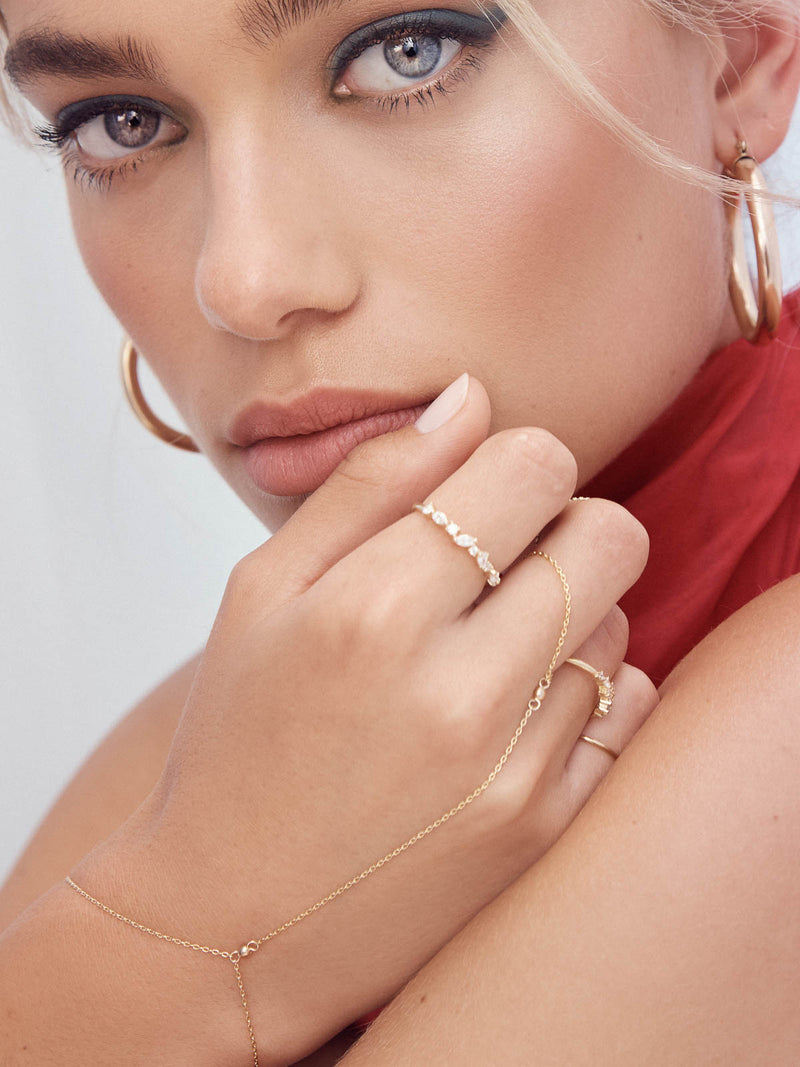 Gold Plated Cluster Ring with White CZ Ring by The Faint Hearted Jewelry