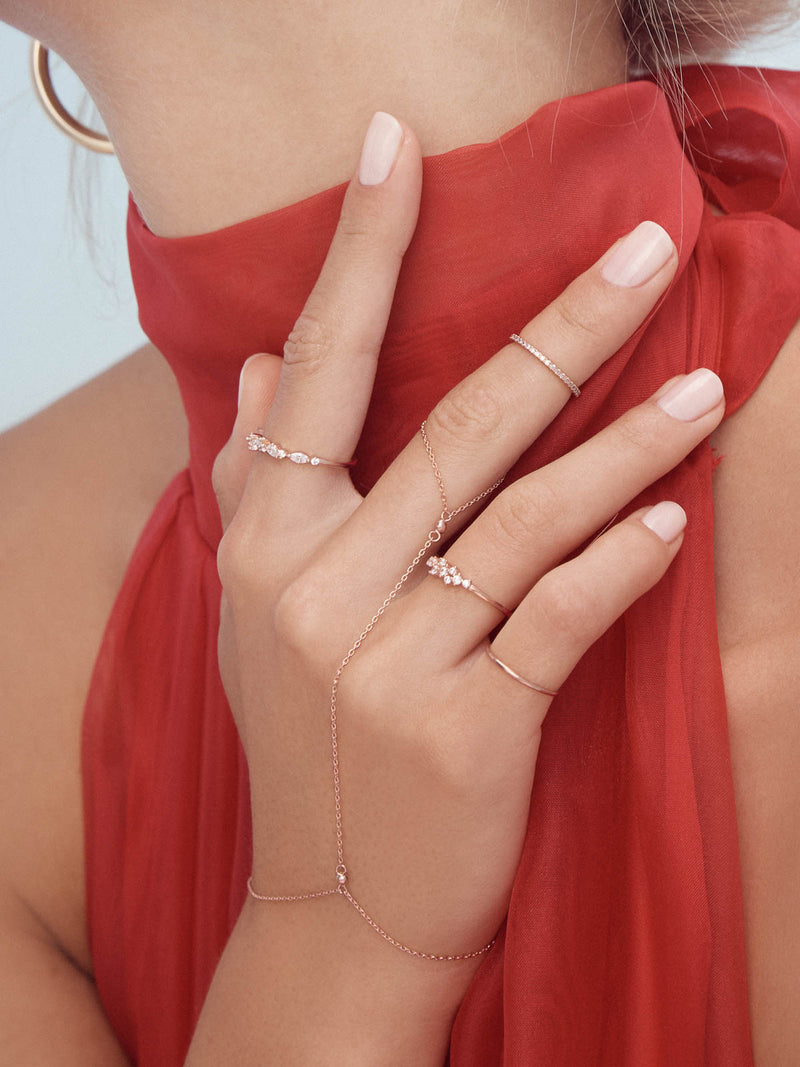 Rose Gold Plated Cluster Stackable Dainty Ring by The Faint Hearted Jewelry