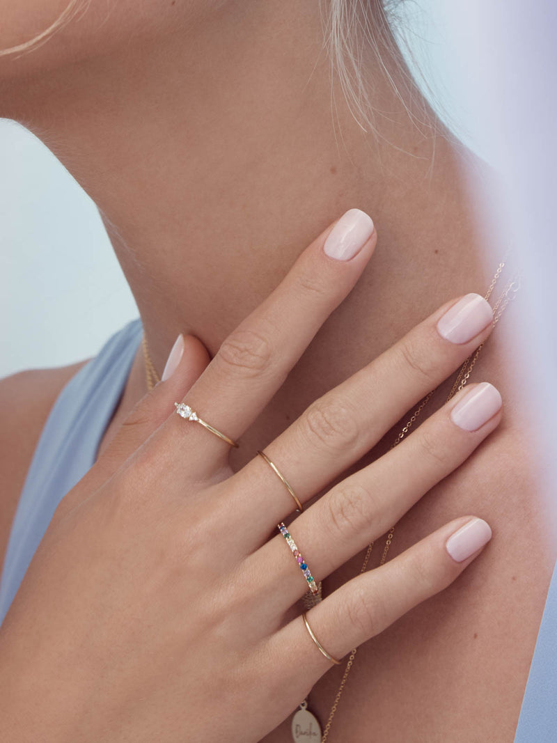 Feminine Minimalistic Design Oval Stackable Ring Gold Plated by The Faint Hearted Jewelry