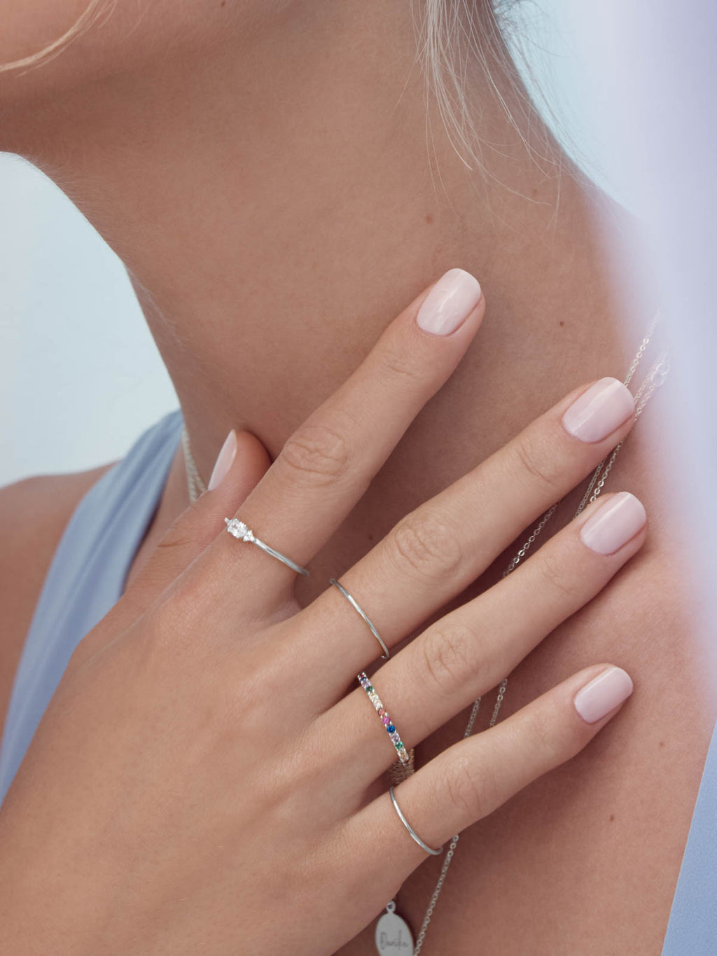 Oval White CZ Rhodium Plated Brass Stacking Promise Ring by The Faint Hearted Jewelry