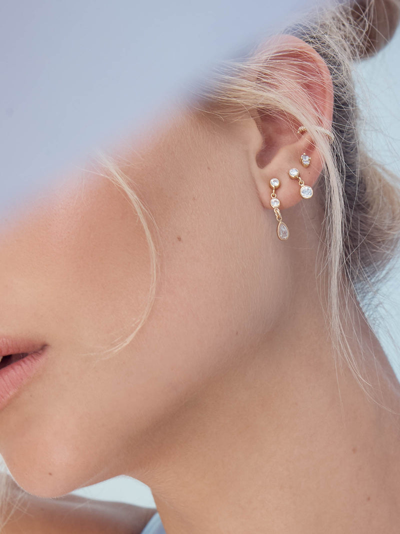 Gold Plated White Round CZ Stud Earrings by The Faint Hearted Jewelry