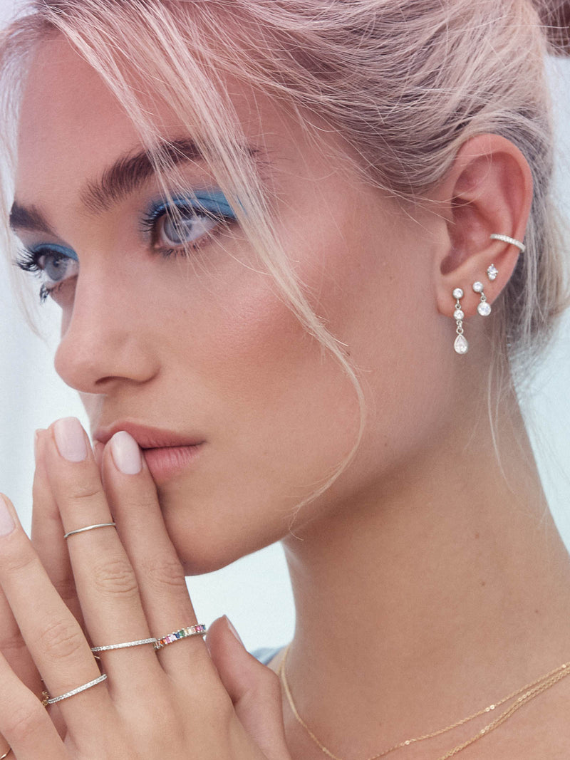 Silver Eternity Style  Small Tiny Pair of Earcuffs No piercing with White color  Round CZ Cubic Zirconia Dainty Earrings by The Faint Hearted Jewelry
