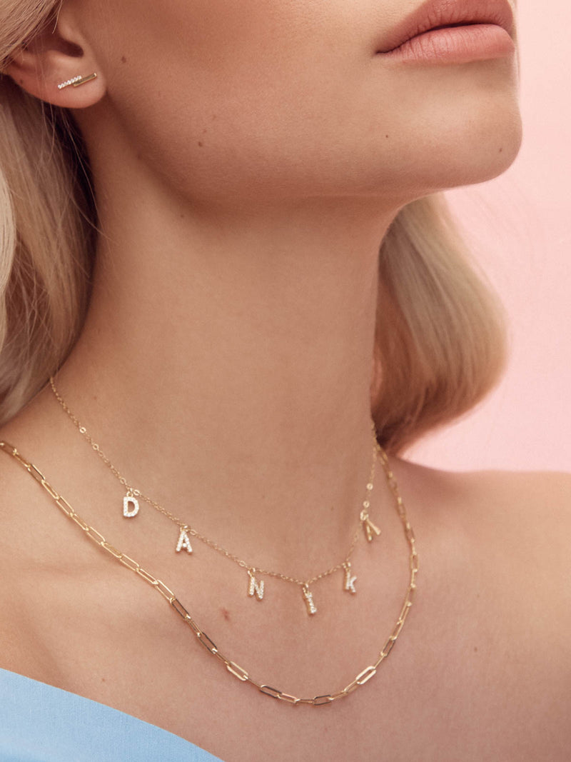 Cubic Zirconia Gold Name Necklace by The Faint Hearted Jewelry