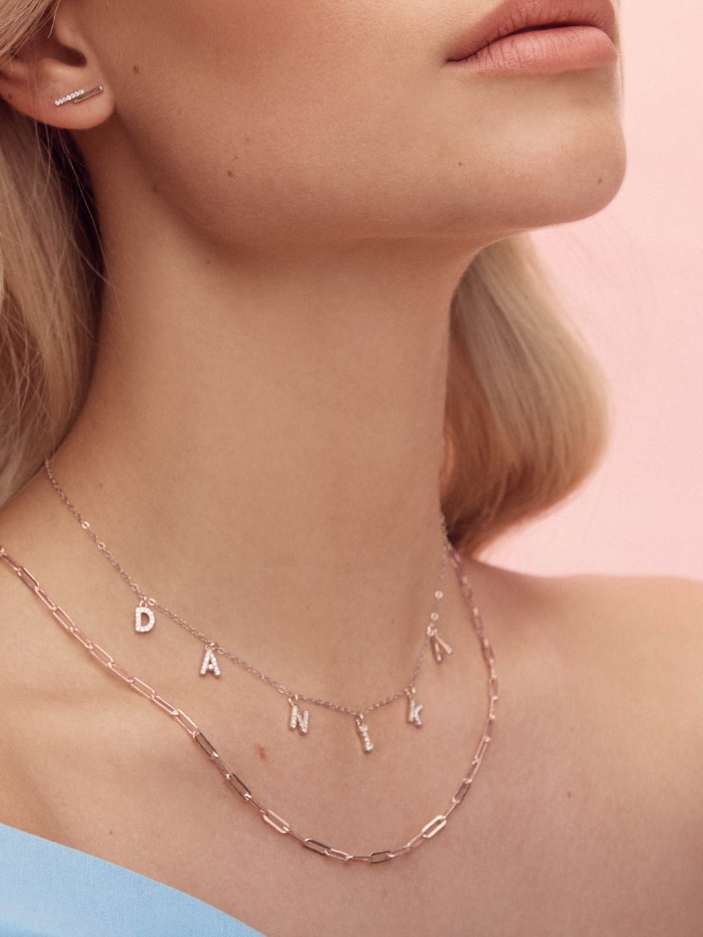 Rose Gold Paperclip Chaink Necklace by The Faint Hearted Jewelry
