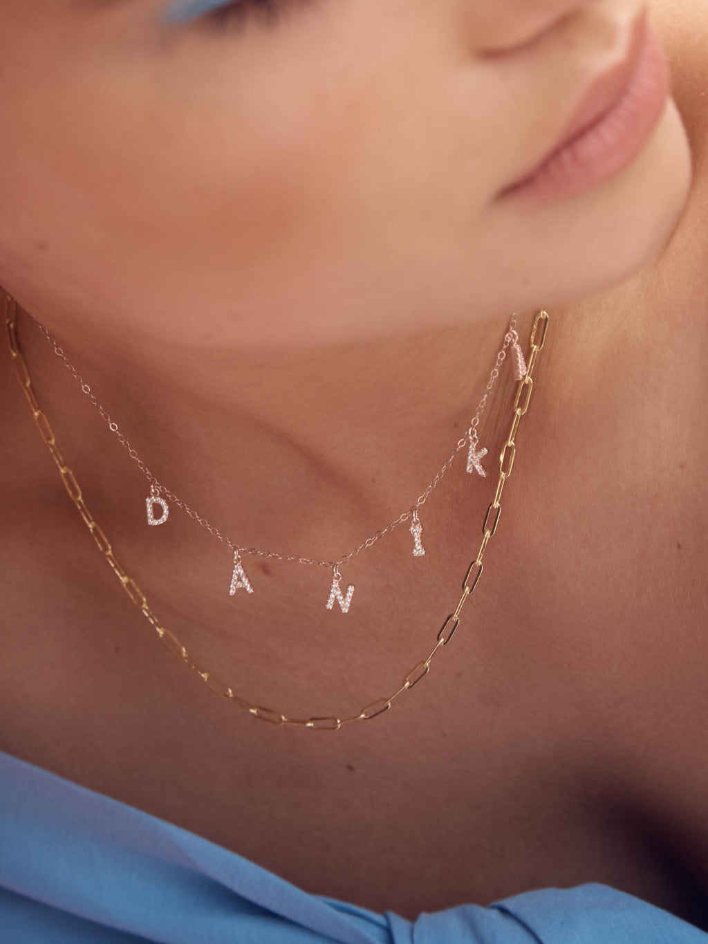 Sparkle Letter Name Rose Gold Necklace by The Faint Hearted Jewelry