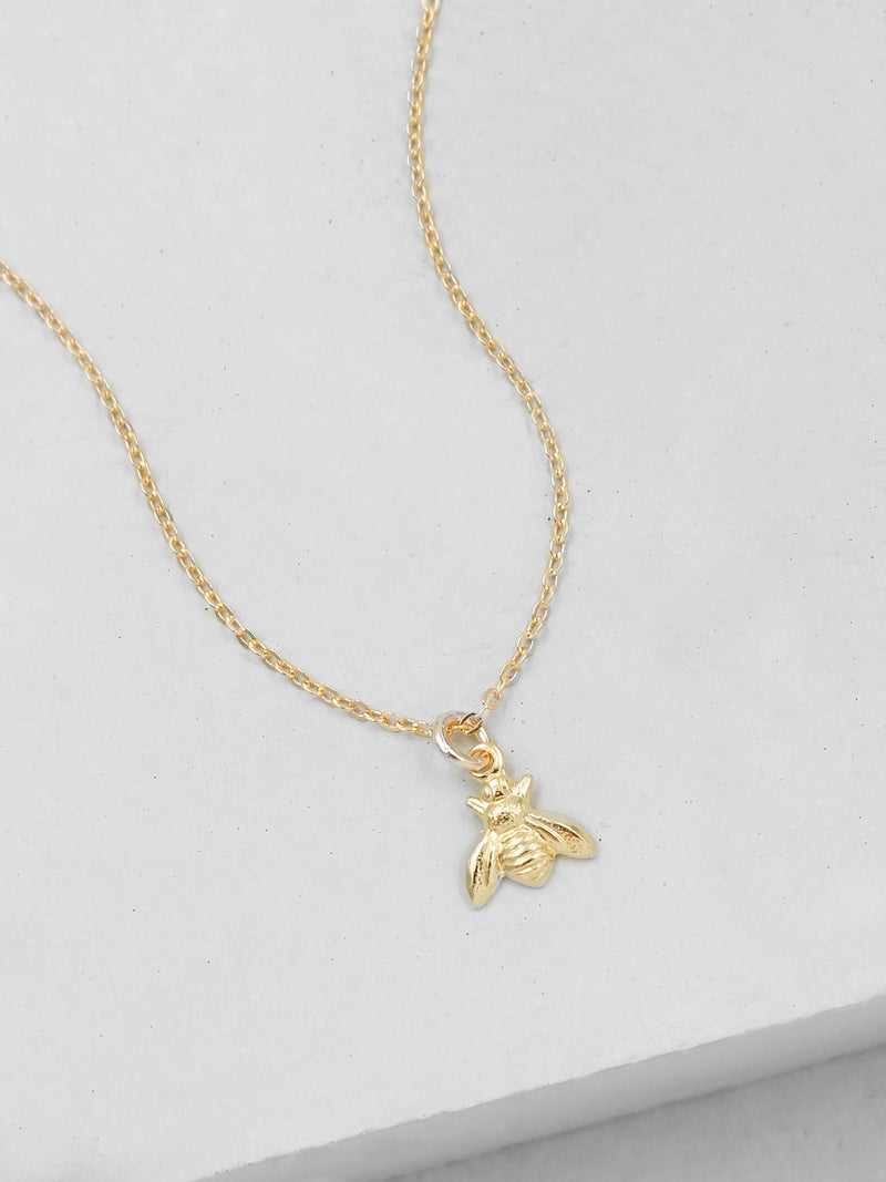 Gold Plated Mini Bumblee bee  Necklace by The Faint Hearted Jewelry