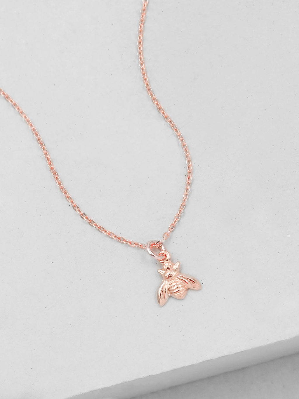Rose Gold Mini Bumblebee  Necklace by The Faint Hearted Jewelry