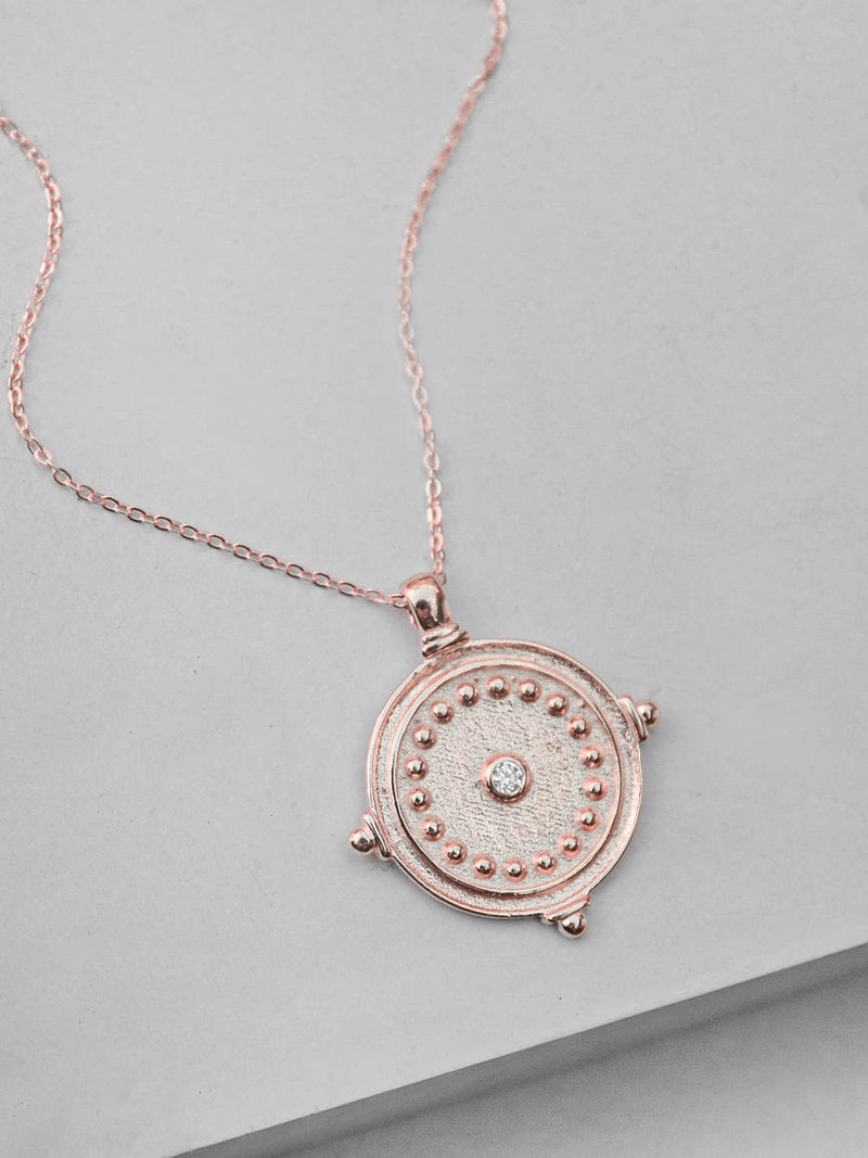 Antique Coin Necklace - Rose Gold