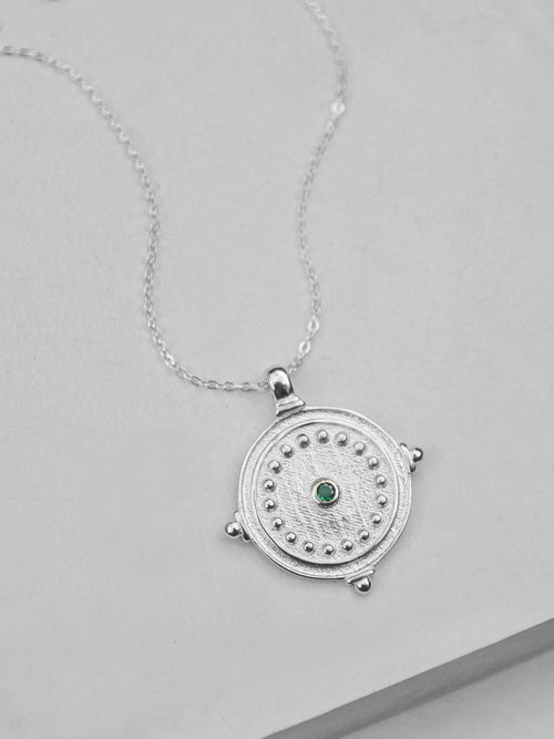 Antique Coin Necklace - Silver + Emerald