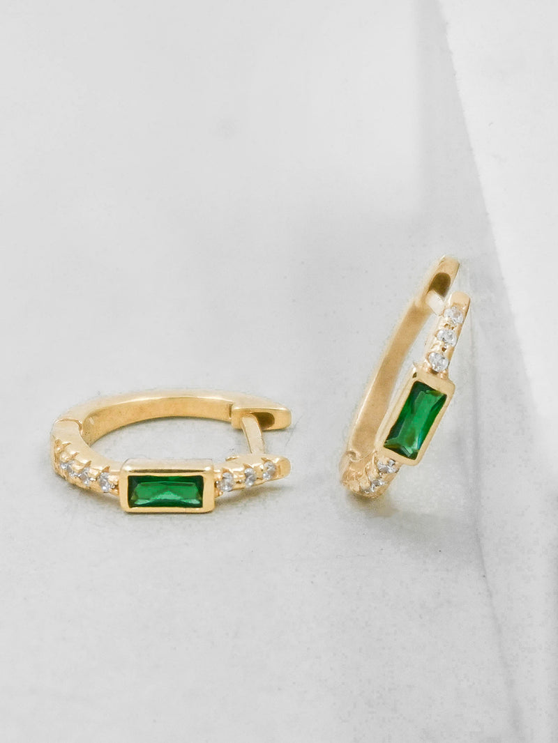 Gold Plated Green Emerald Baguette and Round CZ Huggies Earrings by The Faint Hearted Jewelry