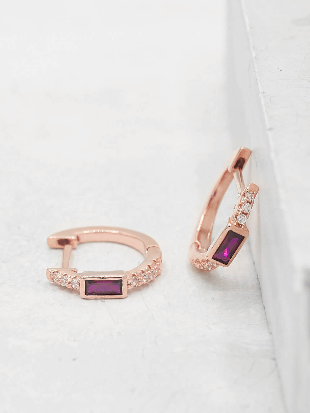 Baguette Huggies - Rose Gold + Ruby