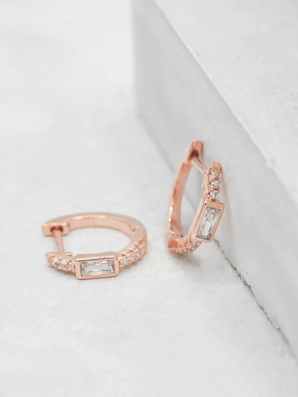 Rose Gold Plated Baguette and Round White Tiny CZ Hugggies Earrings by The Faint Hearted Jewelry