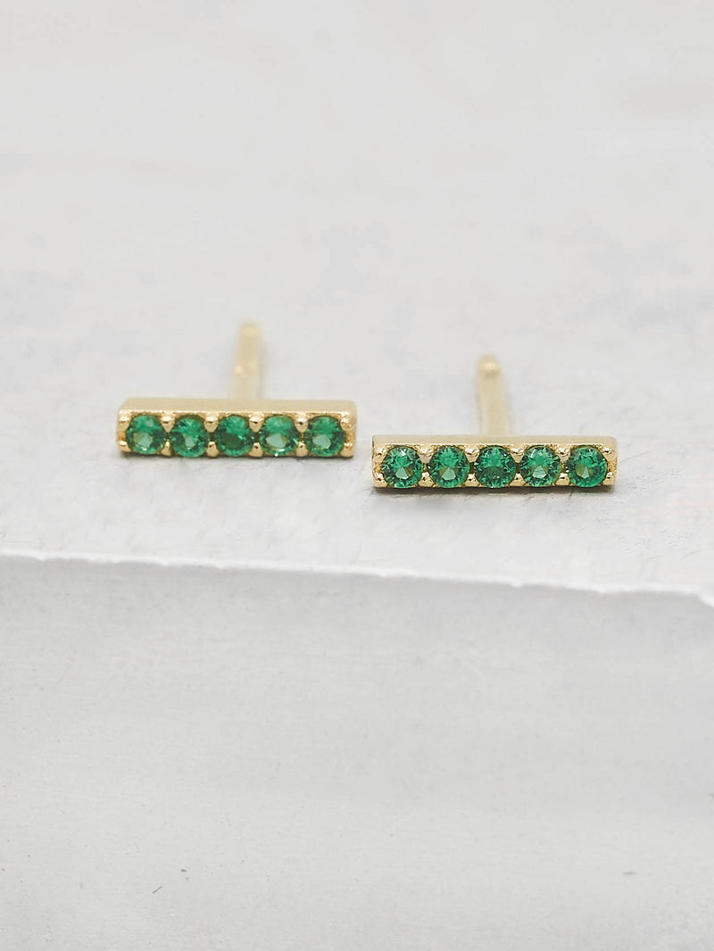 Bar design with Emerald Green CZ Stones Gold Plated Stud Earrings by the Faint Hearted Jewelry